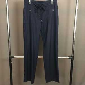 Navy Classic Chanel Pants with drawstring waiste
